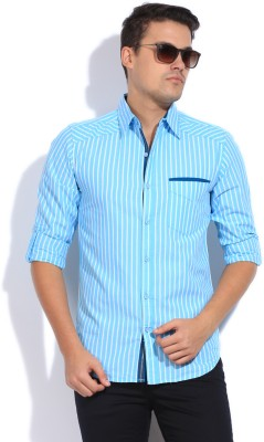 Cuffle Men's Striped Casual Blue Shirt