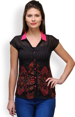 Purplicious Women,s Floral Print Casual Black, Pink Shirt