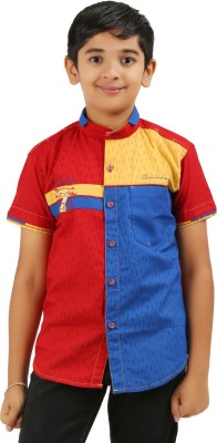 Cub Kids Boy's Printed Casual Red, Yellow, Blue Shirt