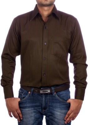 AADUKI Men's Striped Formal Brown Shirt