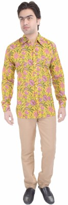 Angels Choice Men's Floral Print Casual Yellow Shirt