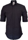 So Design Men's Striped Casual Black Shi...