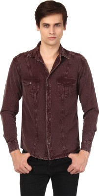 Oxolloxo Men's Solid Casual Brown Shirt
