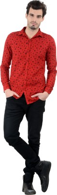 Piccolo Clothings Men's Printed Casual Red Shirt