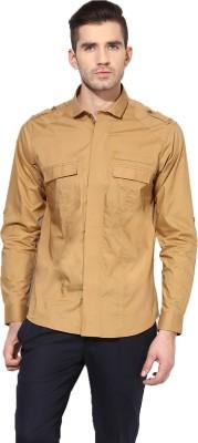 MONTEIL & MUNERO Men's Solid Casual Beige Shirt