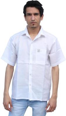 Romano Men's Solid Formal Linen White Shirt