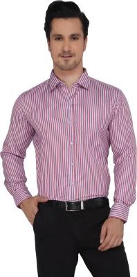 Devaa Men's Striped Casual Red Shirt