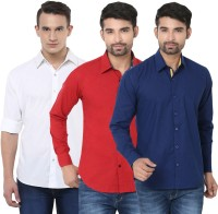 Stylox Formal Shirts (Men's) - Stylox Men's Solid Formal Multicolor Shirt(Pack of 3)