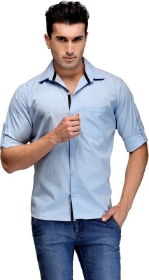 TSX Men's Solid Casual, Formal, Party, Lounge Wear Light Blue Shirt