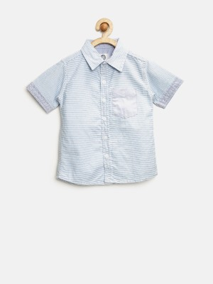 Yk Boy's Striped Casual Blue Shirt