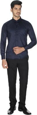 Shaurya-F Men's Printed Casual Blue Shirt