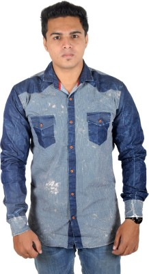 Yomaa Men's Polka Print Casual Blue Shirt