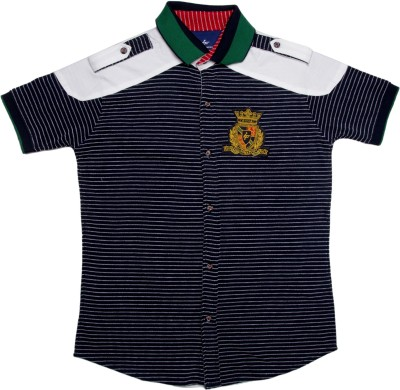 LI,L TOMATOES Boy's Striped Casual Blue Shirt