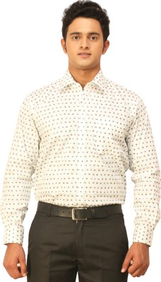 Seven Days Men's Printed Casual White, Blue Shirt