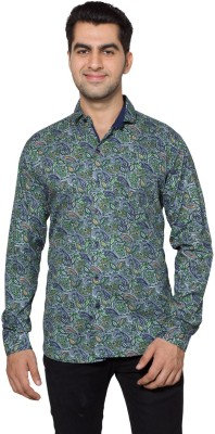 Hancock Men's Printed Casual Dark Blue, Green Shirt