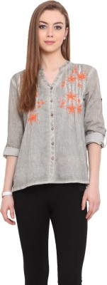 Porsorte Women's Embroidered Casual Green Shirt
