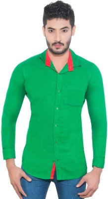 Goodkarma Men's Self Design Casual Green Shirt