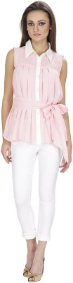Lilium Women's Solid, Woven Casual Pink, White Shirt