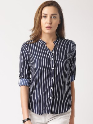 Dressberry Women's Striped Casual Dark Blue Shirt