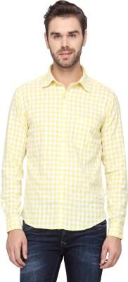 Cross Creek Men's Checkered Casual Yellow Shirt