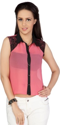 Iamyou Women's Solid Casual Pink Shirt