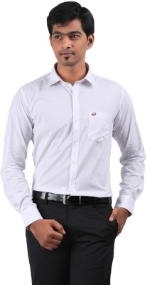 Stoff Men's Striped Formal White Shirt