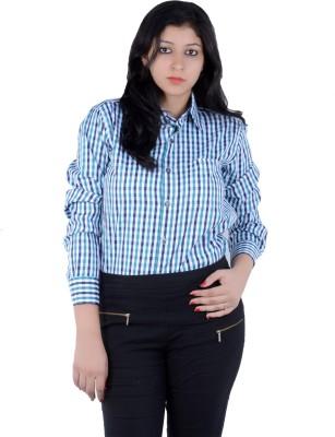 S9 Women's Checkered Casual Blue, Black, White, Multicolor Shirt