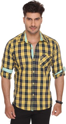 Ramarrow Men's Checkered Casual Yellow Shirt