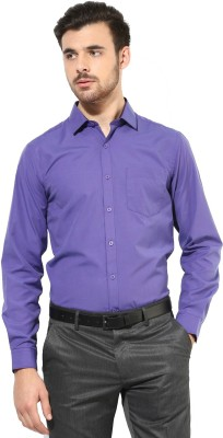 First Row Men's Solid Formal Purple Shirt