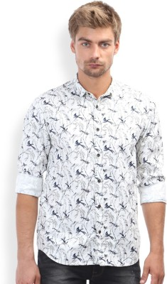 Breakbounce Men,s Printed Casual White Shirt