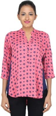 LondonHouze Women's Printed Casual Pink Shirt