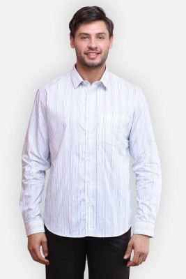 four one oh Men's Striped Formal White Shirt