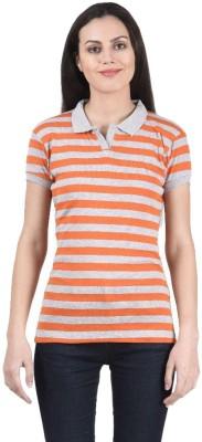 Beautic Women's Striped Casual Orange Shirt