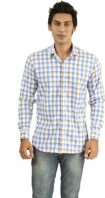 Frissk Men's Checkered Casual Blue, Orange, White Shirt