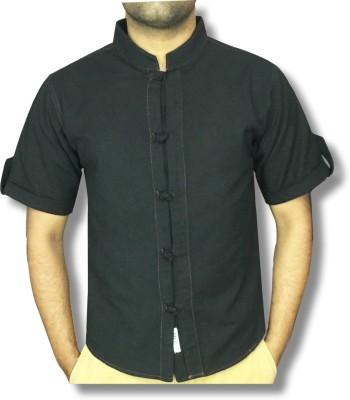 hmm Men's Solid Casual Linen Black Shirt