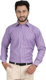 Hippoolife Men's Striped Formal Purple S...