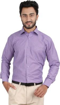 Hippoolife Men's Striped Formal Purple Shirt
