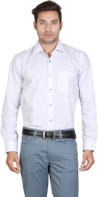 Don Vino Men's Self Design Casual Blue, White Shirt