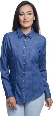 Addyvero Women's Solid Casual Denim Dark Blue Shirt