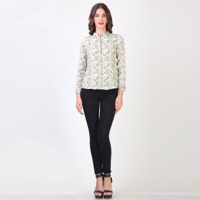 Vvine Women's Printed Casual White Shirt