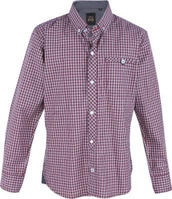 Gini & Jony Boys Checkered Casual Maroon, White Shirt
