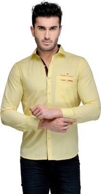 Nexq Men's Solid Casual Yellow Shirt