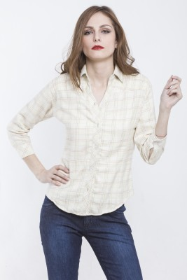 Being Fab Women's Checkered Casual Beige Shirt at flipkart