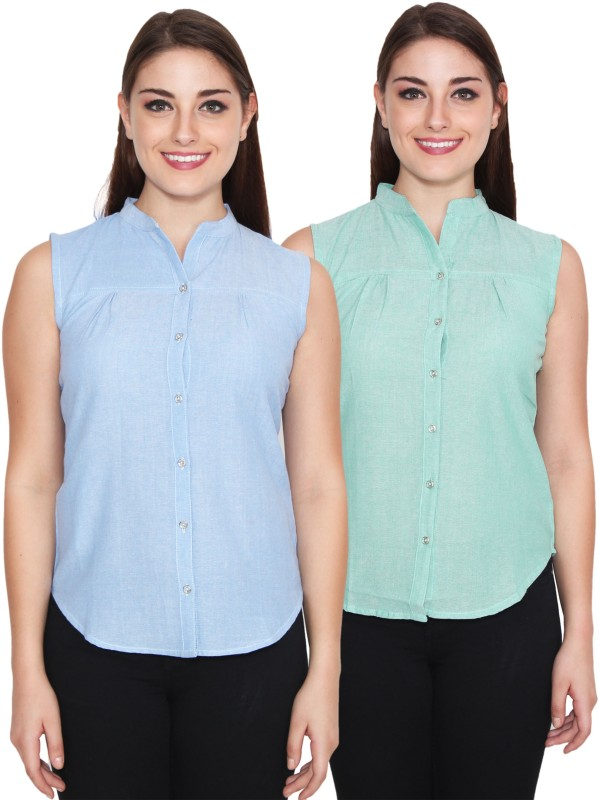NumBrave Women's Solid Casual Blue, Green Shirt(Pack of 2)
