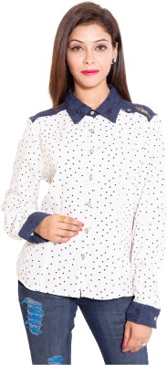 Belomoda Women's Striped Casual White Shirt