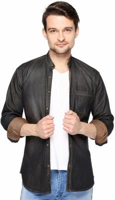 Fasnoya Brukers Men's Solid Casual Denim Black, Brown Shirt