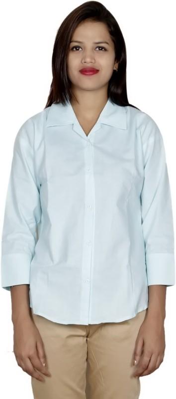 IndiWeaves Women's Solid Formal White Shirt