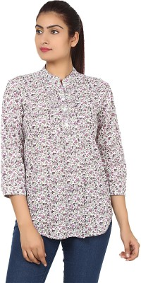 Klick2Style Women's Floral Print Casual White, Purple Shirt