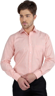 J Hampstead Men's Checkered Formal Beige Shirt