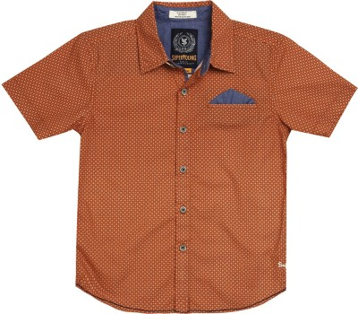 SuperYoung Boy's Printed Casual Orange Shirt